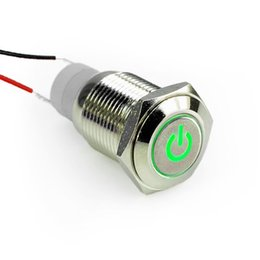 Wholesale 16mm V Car Angel Eye Green Led Lighted Silver Metal Stainless Steel Switch Latching Push Button