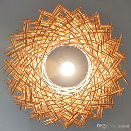 Wholesale Creative Nest Light Rattan Woven Pendant Light Retro Pendant Lamp Living Room Bedroom Restaurant Country Pendant Lamp Original Brown Color