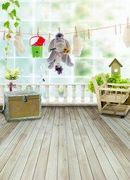 Promotion bébé toiles de fond la photographie de vinyle 200cm * 150cm (6.5ft * 5ft) de fond Wood Floor Toy Dessous de photographie pour bébé Contexte de photographie de vinyle