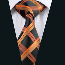 Orange Black Plaid Necktie for Men Silk Jacquard Woven Casual Business Party Work Formal Meeting Tie D-0344