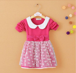 Fashion Baby Girls lace bow Dress Toddler Kids Striped Dress Casual Long Sleeve Clothes
