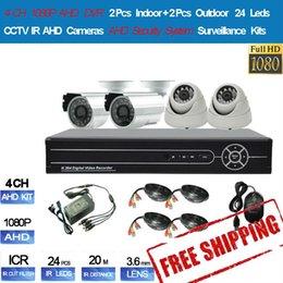 New 4CH 1080P AHD DVR 2pcs Indoor + 2pcs Outdoor 720P AHD Cameras 24 Leds AHD Security System Surveillance Kits Free Shipping