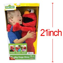 Wholesale 53CM Cartoon Sesame Street Elmo Talks animated phrases sounds nap time Plush Toys Soft Stuffed Dolls Children Gifts Brinquedos