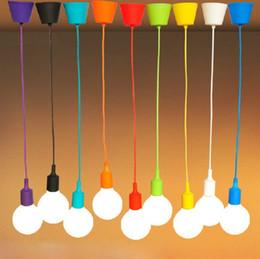 Multicolor E27 socket pendant lamps light 1pc free shipping light fixture Hanging color line Silicone holder pendant lights~ NO bulb