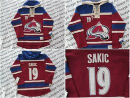 Wholesale Factory Outlet Best quality Colorado Avalanche Joe Sakic Burgundy w Blue Hockey Hoodies Jersey Ice Winter Old Time Hockey Ho