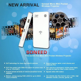 Wholesale SONEED SP W500 Wireless mini projector support WIFI power output USB DLP Projector Home Theater Lumens Audio Out
