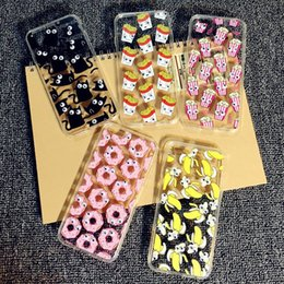 Wholesale Cute Cartoon Banana Donuts Popcorn French Fries Cat D Rotating Small Eyes TPU Case For iPhone s S Plus Free ship MOQ