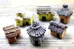 Wholesale 6PCS X2 CM DIY Resin Rustic small house Assembling Novelty Miniature House Toy Home Decoration Art Collection