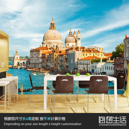 Wholesale Mural Italy Venice European architectural landscape large murals D personality stereo TV background wallpaper wallpaper