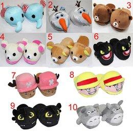 Wholesale 10 inch styles can choose Adult plush slipper The Nightmare Before Christmas Totoro Rilakkuma Luffy Chopper Olaf Night Fury WD6621