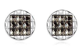 Fashion Stud Earring made with Swarovski Elements 18K White Gold Plated Black Crystal Earrings For Women 9444