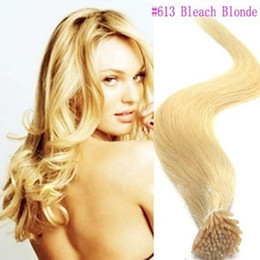 Wholesale a g s g pack quot Keratin Stick tip I Tip Human Hair Extensions Indian air bleach blonde dhl Fast shipping