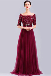 Boat Neck Burgundy Prom Dress With Short Sleeves A Line Sequin Top Sparkly Formal Evening Gown Available Plus Size
