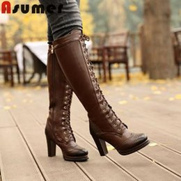 Wholesale-2015 New winter fashion lace up genuine leather knee high boots Black brown high heel Thick Heels women's knight long boots