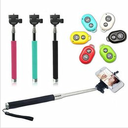 Wholesale Top Extendable Handheld Self portrait Monopod selfie stick Photograph Bluetooth Shutter Camera Remote Controller for iPhone Samsung US01