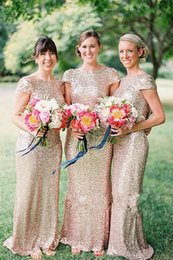 Sequined Open Back Long Bridesmaid Dresses Capped Short Sleeve Scoop The Maid of Honor Sparkly Ruched Back Sheath Dresses