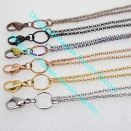 Wholesale Panpan support for blending inches Stainless steel rolo chain floating locket chains necklace chain