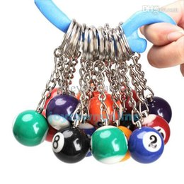 Wholesale Set of Billiard Pool Pendant Keychain Snooker Table Ball Key Ring Gift JT