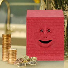 Wholesale 2016 NEW Brick Face Bank Saving Sensor Coin Money Eating Box for Kids Money Box Gifts red