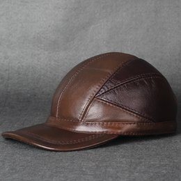 Wholesale real leather Winter cap outdoor winter hats men cowhide leather fashion baseball cap warm ear cap aircraft