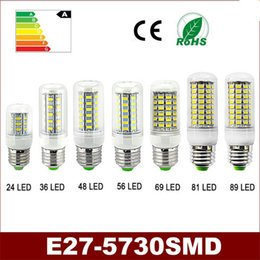 Wholesale Chandeliers Bulb 5w - Super Bright E27 LED Lamps 5730 220V 5W 9W 12W 15W 20W 25W 30W LED Lights Corn Led Bulb Christmas Chandelier Candle Lighting LED Lights