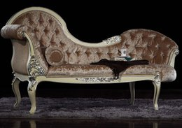 French royal household furniture European classical handmade wood carved gilt chaise lounger recliner