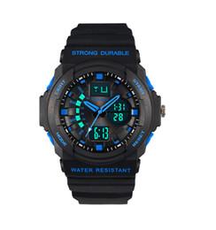 New Fashion Men PU Leather Watch Quartz Movement Strap Round Dial Waterproof Sport LED Digital Watch Free Shipping