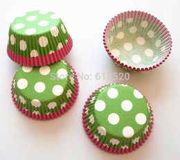 Wholesale Green with Polka Dot CakeCup Cupcake Liners Baking Cups Baby Shower Birthday Party Decorations