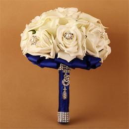 Beautiful Royal Blue Artificial-flowers Pearls Beaded Luxury Expensive Wedding Bouquets Para Casamento Buque De Noiva De Fita
