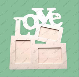 Wholesale DIY Photo Frame Hollow Love Wooden Family Photo Picture Frames Blank DIY Paint Picture Photo Frame Home Decor