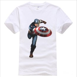 Wholesale American captain The Avengers Funny Fashion New Men T shirts Swag Summer Cotton Short Sleeve neck Tops Tees DIY Marvel T shirt