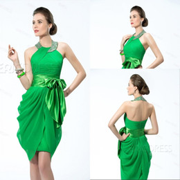 Sparkle Charming Sheath High Neck Knee Length Green Chiffon Cocktail Dresses Beaded Sexy Design Cheap Homecoming Party Dresses