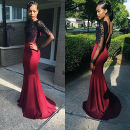 Robe de soiree Sexy Mermaid Prom Dresses 2016 O-neck Long Sleeves Floor Length Appliques Satin Backless Evening Dress