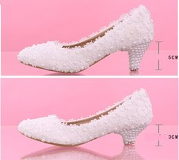 New Arrival Pearls and Lace Wedding Shoes 3cm 5cm Medium Heel Bridal Shoes Prom Party Shoes