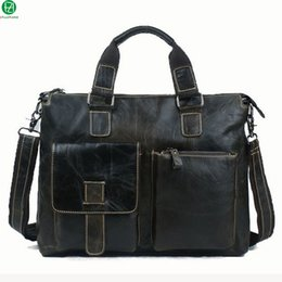 Wholesale-14 inch Genuine leather men bag men briefcase men messenger bags leather men travel bag business laptop shoulder bags