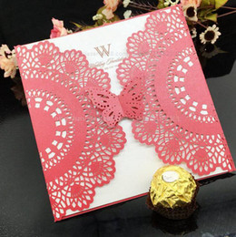 Wedding Invitations Laser Cut Customizable Hollow Crystal Lace Bow Ribbon Wedding Invitation Cards free shipping WT01