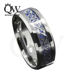 Mens Celtic Wedding Ring 8mm Tungsten Carbide Wedding Bands Blue Background Silver Celtic Dragon Inlay Silver Wedding Bands Fashion Jewelry