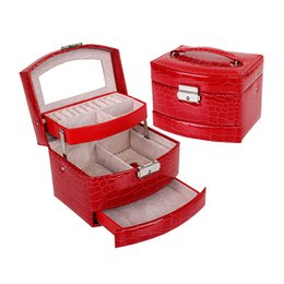 Promotion boîtes à bijoux dames Bijoux en gros Affichage Box 3 couches Collier Bague bijoux étui Crocodile Print Lady Stockage cadeau Fournitures YT0274