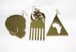 Free Shipping!African Afro Shape Acrylic Earrings can mixed 3 designs