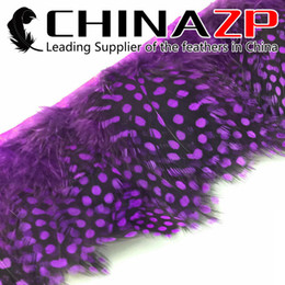 Leading Supplier CHINAZP Crafts Factory 10yards lot Top Quality Dyed Purple Guinea Polka Dot Hen Feathers Trim