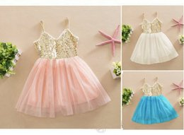 2016 INS baby girl kids Frozen dress sequin dress flower tutu dress pettiskirt princess tulle layers fluffy lace pleated Golden Sequins 5