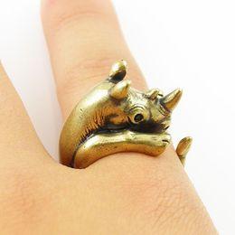 Min 1pc 2015 Hot Fashion Retro Rhino Animal Wrap Ring for Women Vintage Simple Animal Women Ring for Women JZ334