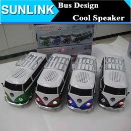 Wholesale USB Portable Mini Bus Car Shape Speakers WS Stereo Music Player Box Support FM Radio TF Card U disk For Cellphone Mp3 player