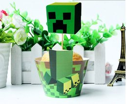 Wholesale Minecraft paper cupcake wrappers and toppers set baby party birthday shower supplies minecraft cupcake toppers baby shower decors