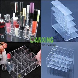 Wholesale 2014 New Acrylic Cosmetic Makeup Lipstick Holder Cells Stand Rack Clear Storage Shelves Case Display Organizer