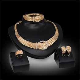 Fashion Women 18K Gold Plated Crystal Pendant Wedding Party Belt Design Statement Necklace Earrings Jewelry Sets