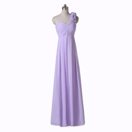 One Shoulder Long Purple Bridesmaid Dresses 2019 Style Real Picture Chiffon New Handmade Flower Empire Ruffles Sleeveless Floor Length B123