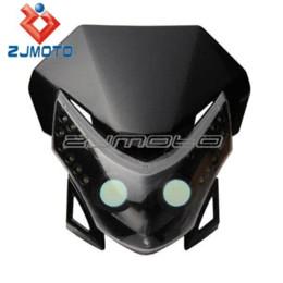 Motos sportives carénage en Ligne-LED Vision Headlight Street Fighter Bike Carénage moto dirt bike Universal Dual Sport phare KTM XR WR CR RMZ DR DRZ250 M54005