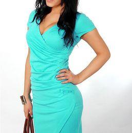 Women sexy v-neck bodycon dresses OL temperament big yards work dresses Candy color dresses for women Summer dresses for women