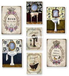 Wholesale metal vintage decorative painting Sign Bar pub home Decor Art counter top vanity top Mirror bathroom x21cm